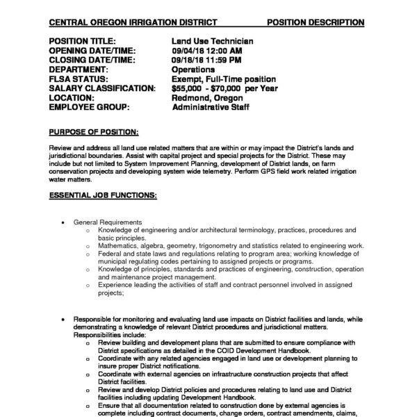 LandUse Technician job posting   Central Oregon Irrigation